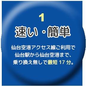 早い・簡単/仙台~仙台空港まで最短17分