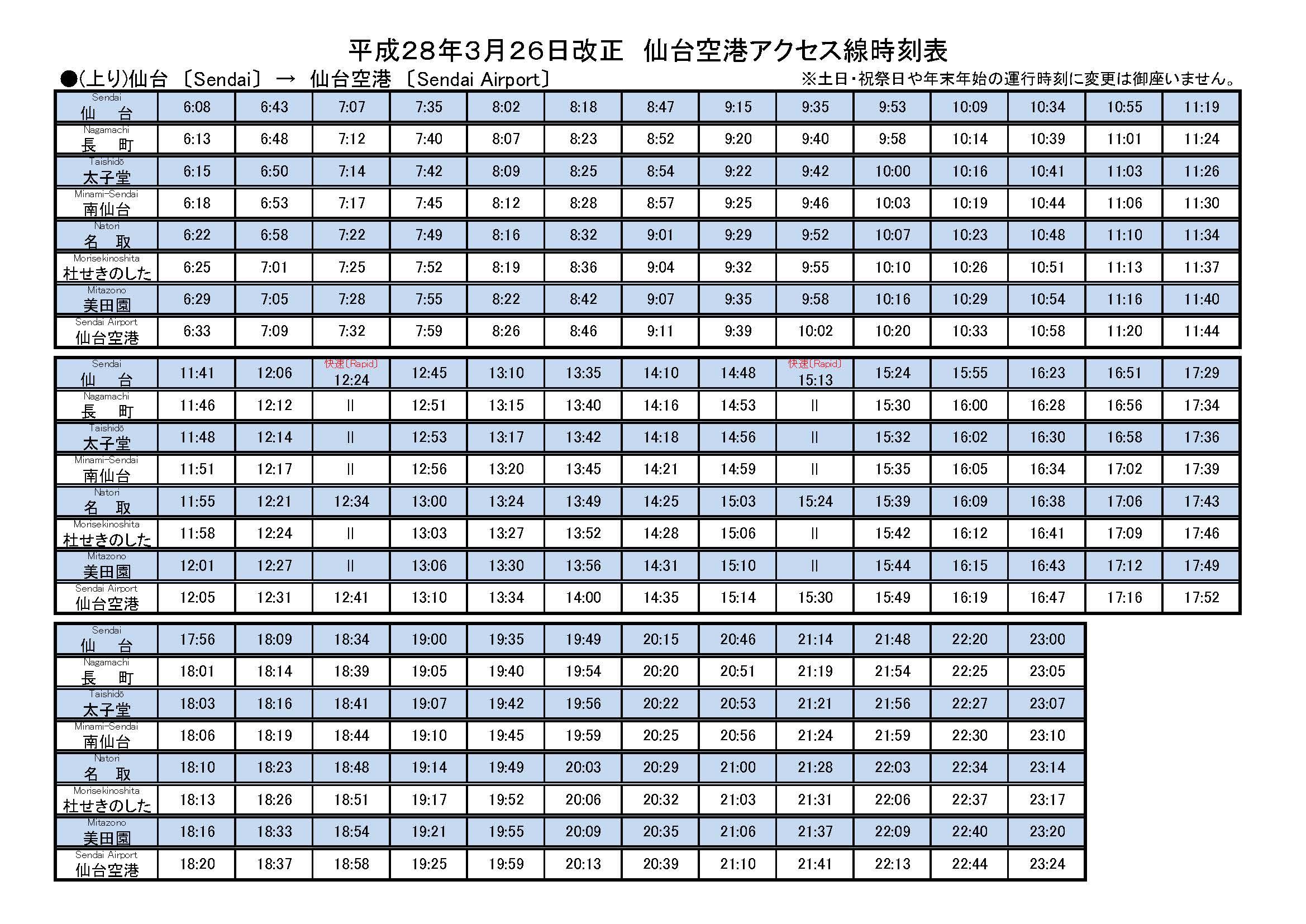 仙台空港アクセス線時刻表上り