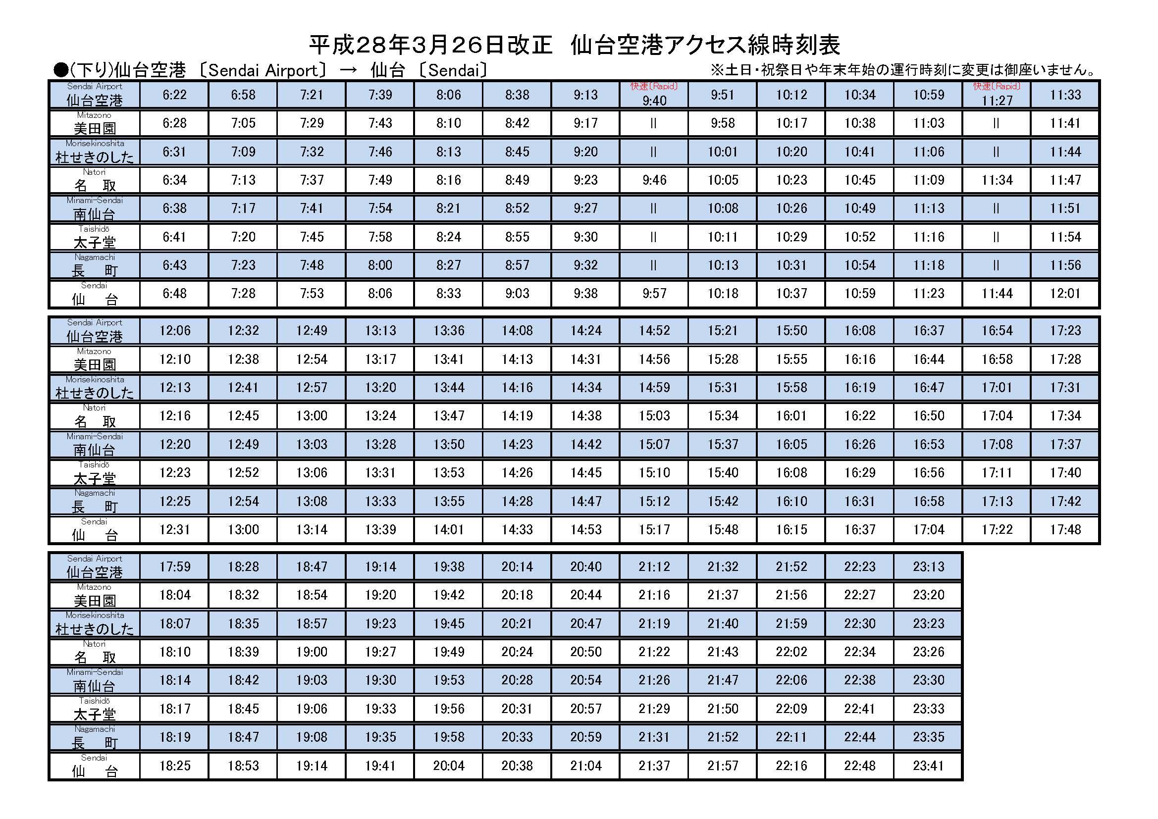 仙台空港アクセス線時刻表下り